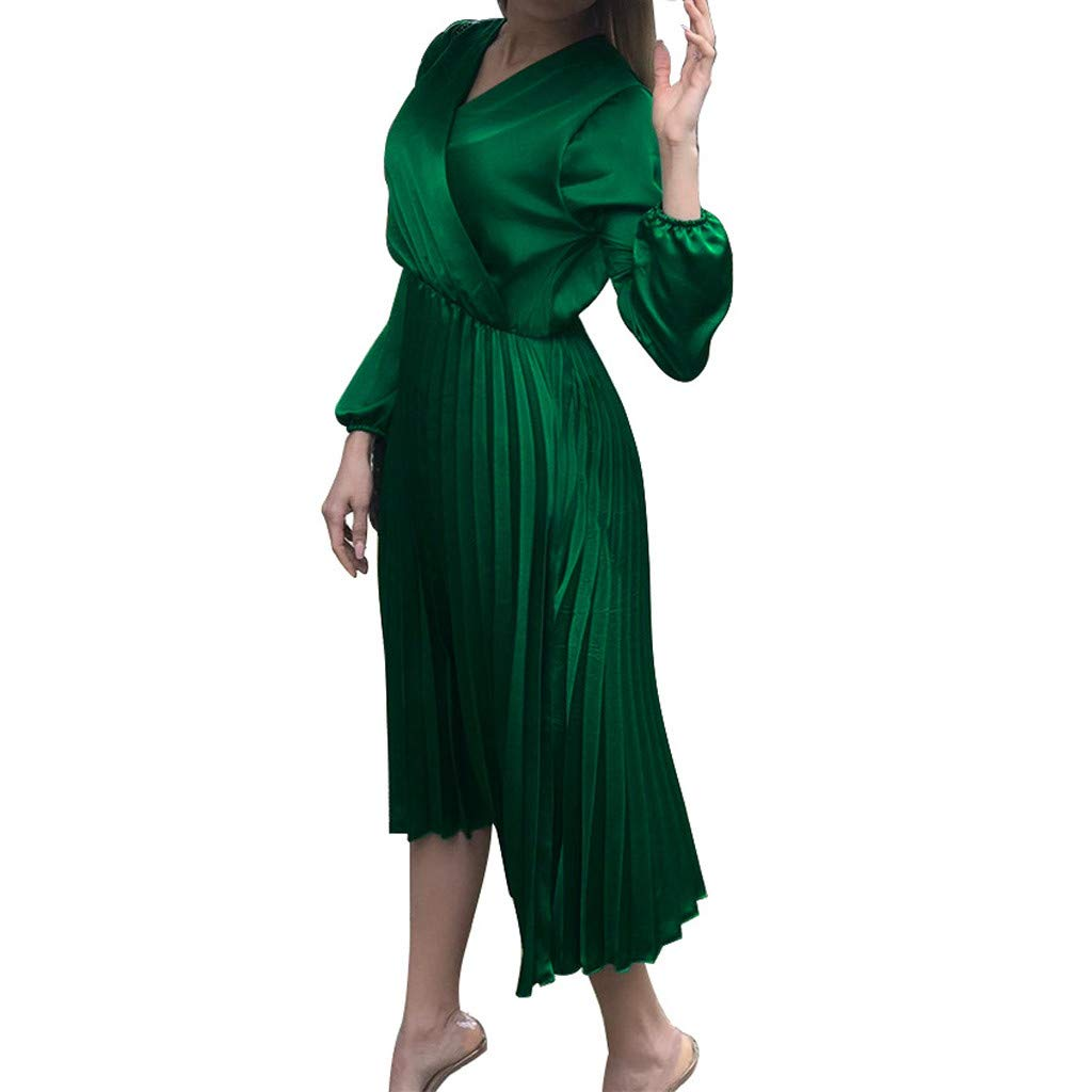 TRENDINAO Pleated Dress,Women Sexy Off Shoulder V-Neck Long Sleeve Knee-Length Solid Party Dresses for Special Occasions Green by TRENDINAO