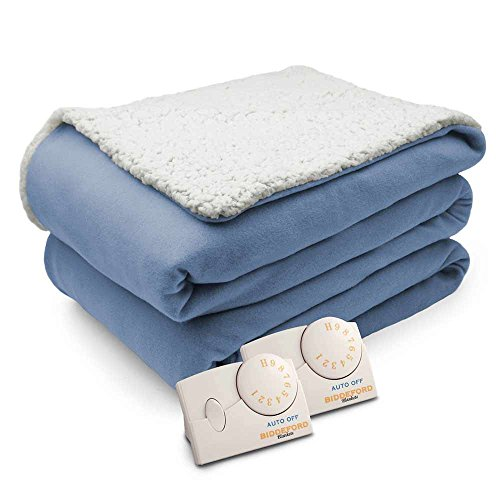 Biddeford Comfort Knit Natural Sherpa Electric Heated Blanke