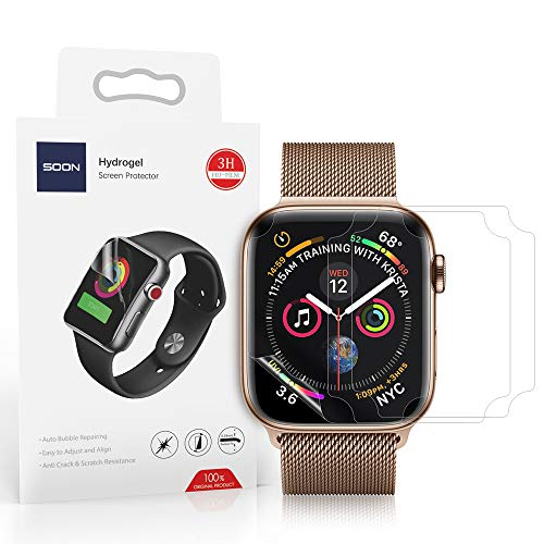 - [3 Pack] Soon Screen Protector Compatible 44mm Apple Watch 4 Series Max Coverage Bubble-Free Anti-Scratch HD Clear Flexible TPU Film