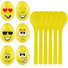 Egg and Spoon Race Game - 6 Sets of Wooden Spoons & Eggs with Cute Faces - Easter Games Birthday Party Games for Kids and Adults