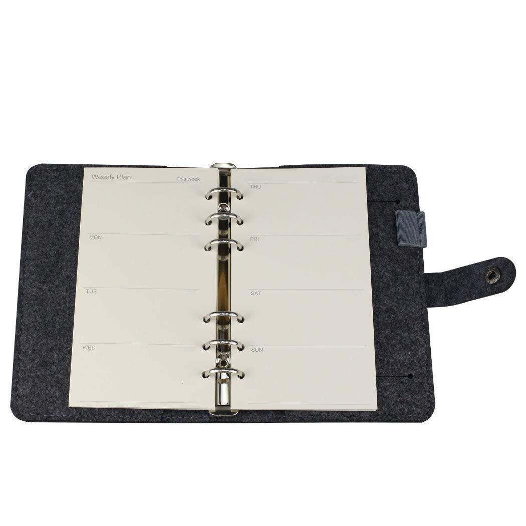 90 p/áginas papel para hojas sueltas 6 agujeros 45 hojas tama/ño A5 cuadernos Recambios para planificador semanal A5 6 anillas viajeros diarios