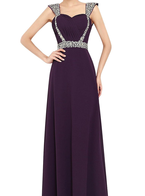 MissFox Damen Abendkleid mit Pailletten besetzt Einfarbig