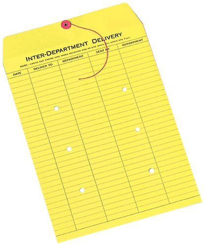 Quality Park 63576 Quality Park String-Tie Interoffice Envelopes,1-Side Print,10x13,Yellow,100/Ctn by Quality Park (Quality Park String Tie)