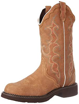 "Justin Boots Women's Gypsy Collection 12"" Boot Fashion Round Toe Rubber Outsole,Toast Brown with Diamond Cut Pull Strap,11 B US"