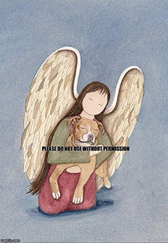 Pit Bull cradled by Angel/Lynch Signed Folk Art Print