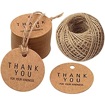 TOYMYTOY 100Pcs Thank You Gift Tags,Kraft Paper Tags Thank You for Celebrating with Us with Jute Twine for Thanksgiving Wedding Christmas