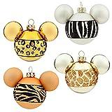 Disney Animal Kingdom Fur Print Mickey Mouse Ear Christmas Glass Ornaments Set of 4