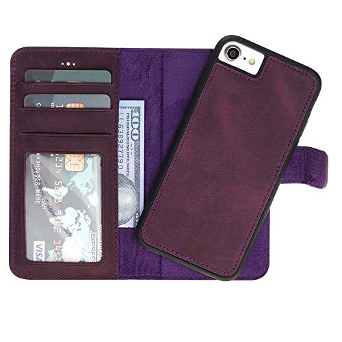 Custom Genuine Leather Handmade Wallet Case with Kickstand for iPhone Xs X | Xs Max | XR 8 7 | 8 Plus | 7 Plus, Galaxy S8 S8+ S9 S9+ Note 8 Note 9 | Magnetic Detachable Case with Card Holders/ID Slo