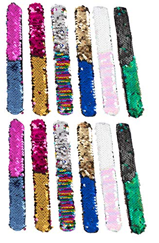 Juvale Reversible Sequin Slap Bracelets - 12-Pack Mermaid Snap Charm Wristbands for Girls, Assorted Magic Flip Sequins Party Supplies, 8 Inches