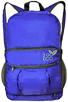 Lightweight Backpack for Travel Or Hiking | Foldable Packable Daypack Carry On Commuter Bag | Converts to Crossbody Tablet Tote | 20L Blue | by 2GOECO