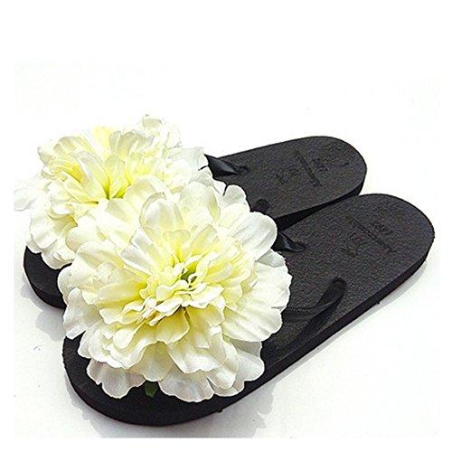 HYL World Women Summer Bohemian Flower Flip Flops Sandal Beach Flower Flat Slipper,White,L(7-7.5)