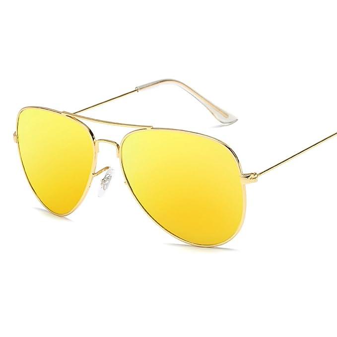 Pingenaneer Lunettes de Soleil - Armature en Métal Aviator 100% UV Protection Unisexe Lunettes,Jaune