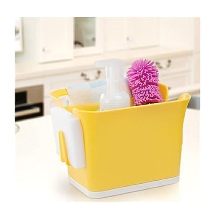 Orpio Kitchen Sink Drainer Caddy Cutlery Sponge Brush Holder Organiser  (Multi Color)