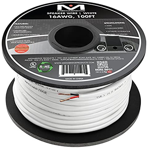 Mediabridge 16AWG 2-Conductor Speaker Wire (100 Feet, White) - 99.9% Oxygen Free Copper – ETL Listed & CL2 Rated for In-Wall Use (Part# SW-16X2-100-WH - 2 Conductor Audio