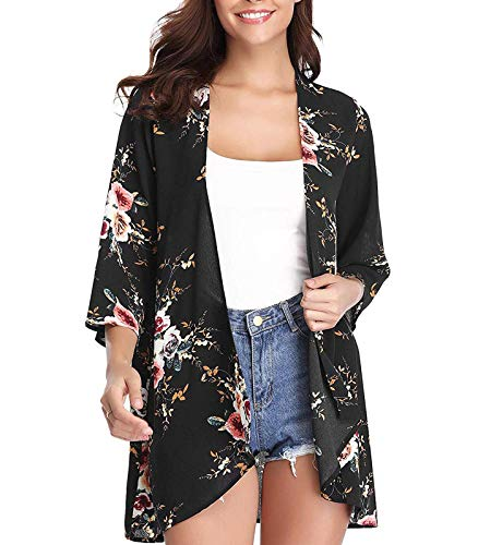 Women's 3/4 Sleeve Floral Kimono Cardigan, Sheer Loose Shawl Capes, Chiffon Beach Cover-Up, Casual Blouse Tops (A42-black, X-Large)