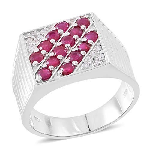 Ruby, White Zircon Rhodium Plated Silver Men's Ring 1.5 cttw Size - Ruby Zircon Ring