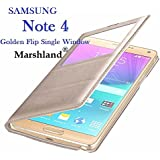 Samsung Galaxy Note 4 Flip Cover S-View Single Window Premium Quality with Smart Chip Smart Flip Cover Golden Colour by Marshland