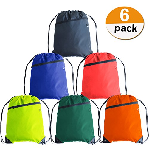 Cinch Nylon (Youyuan 6 Colors Drawstring Backpack Sack Pack Large Size with Zipper Cinch Pack Tote Kids Adults Storage Bag for Gym Traveling)