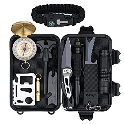 Survival Gear Kits 12 in 1, Outdoor Emergency Survival Tools with Tactical Pen, Fire Starter, Military Compass, Survival Bracelet, Flashlight, Whistle for Camping Hiking Climbing Hunting Adventures by Iteryn