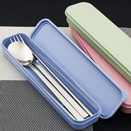 XNKL 3PCS Portable Flatware Spoon Fork Tableware Set 304 Stainless Steel Dinnerware Silver with Travel Box, for Dinner Set,Mirror Polished, Dishwasher Safe (Pink)