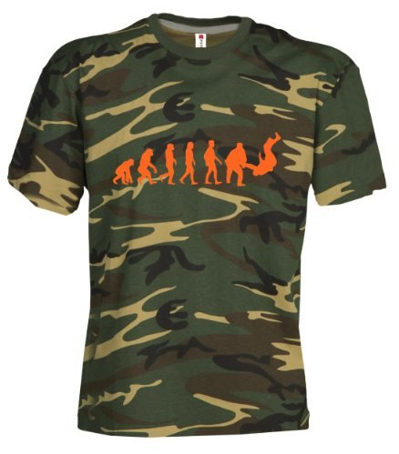 Camouflage Classic Army Style T-Shirt Kurzarm in Tarnfarbe Bedruckt mit Evolution Judo in Neon Orange S.B.J - Sportland