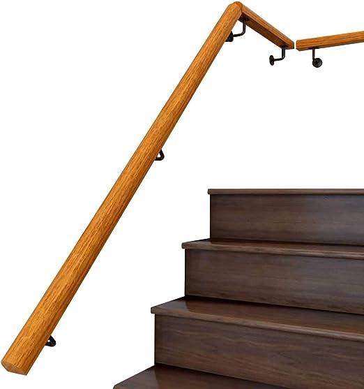 WZNING Pasamanos - Kit Completo, Antideslizante de Madera de la Escalera Pasamanos Inicio contra la Pared Interior de Ancianos Loft Pasamanos Pasamanos Corredor de Apoyo de Rod, Personalizable Tamaño: Amazon.es: Hogar