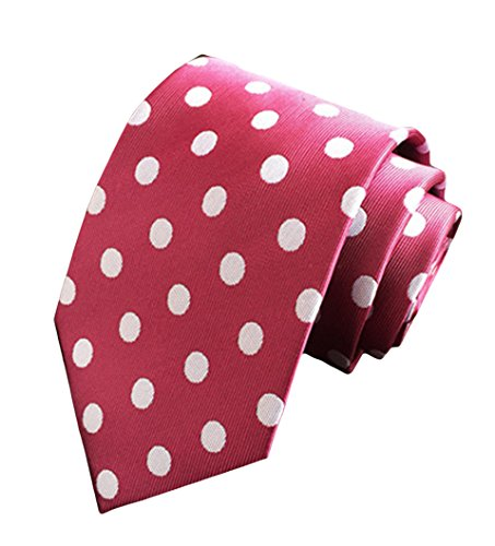 Jacquard Polka Necktie Woven Burgundy MENDENG Classic Men's Ties Dot Silk ApBFUq