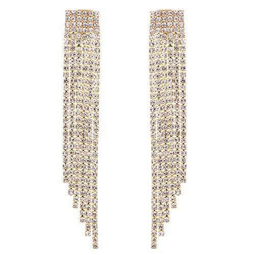 Stylebar Long Tassel Clip on Earrings Fringe for Women Wedding Bride and Bridesmaids Bridal Dangling Crystal Chain Girls Dangle Drop Earring Gold Tone Clear ()