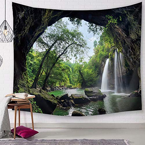 TSDA Waterfall Wall Tapestry Green Jungle Wall Hanging Tropical Forest 3D Mountain Tree Nature Landscape Tapestry (Large-79 x 59 in) ()