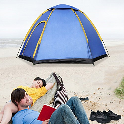 """OUTAD 3 Person Waterproof Tent Hexagonal Large Camping Hiking Tent With Carry Bag Blue(94*82*51"""")"""