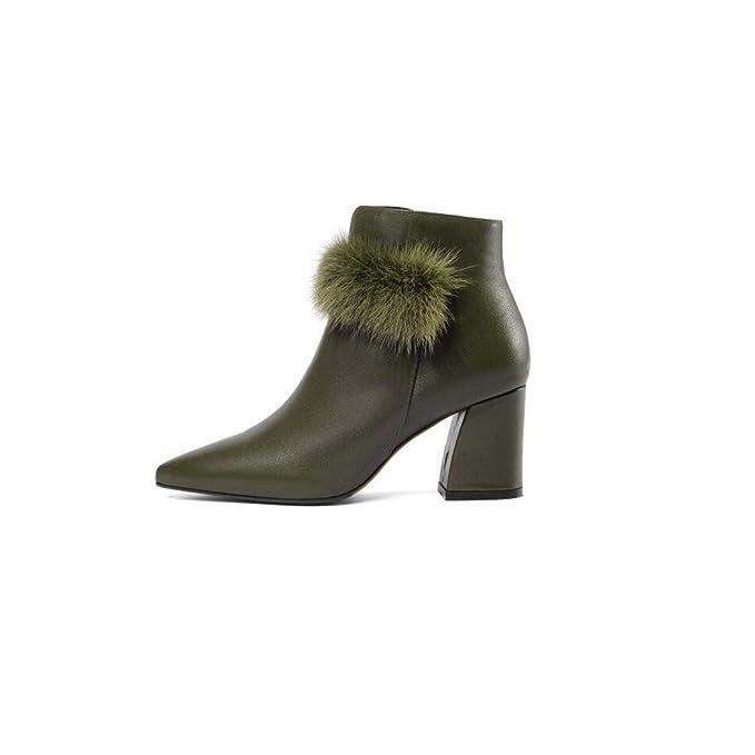 ec1f1b087 Cvbnm La Sra. Señaló los Zapatos de otoño e Invierno Botas de tacón Grueso  Moda Tubo Corto Botas Martin Botas de Cuero de tacón Alto para Damas Negro  ...