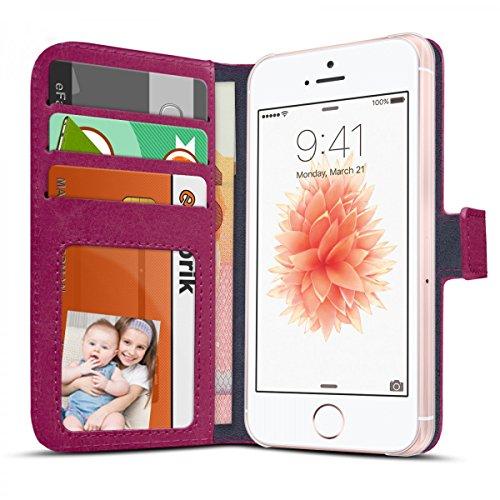 eFabrik Case per Apple iPhone SE 5 5S custodia smartphone ecopelle lila