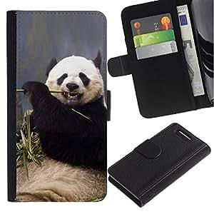 EuroCase - Sony Xperia Z1 Compact D5503 - Funny Hungry Panda - Cuero PU Delgado caso cubierta Shell Armor Funda Case Cover