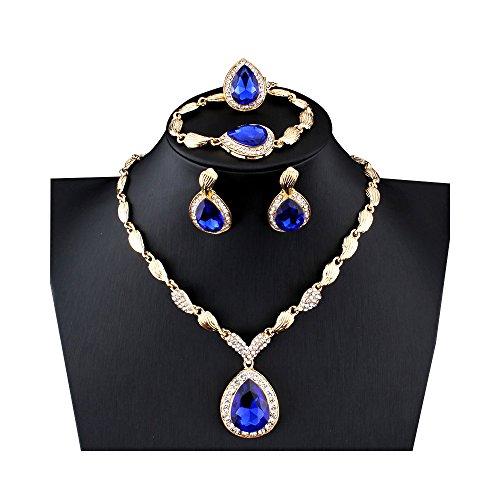 Blue Fashion Jewelry (MINIZY Women's Rhinestone Teardrop Pendant Gold Necklace Earrings Bracelet Ring Set (Blue))