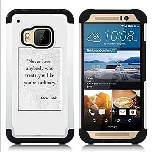 For HTC ONE M9 - Oscar wilde writer quote poster text Dual Layer caso de Shell HUELGA Impacto pata de cabra con im????genes gr????ficas Steam - Funny Shop -
