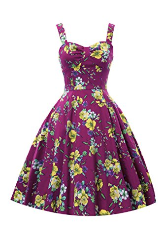 Sweetmeet Women's Vintage 1950'S Strappy Swing Rockabilly Skaters Floral Print Party Dresses S Rose Purple