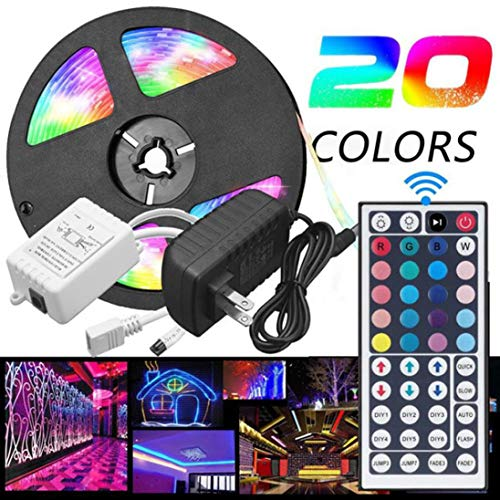 Rumas Waterproof 5050 RGB LED Light 44 Keys Remote Control - 5M 300 LEDs 20 Colors - Light DIY Decor Patio Lawn Street Road Home Office Shop Mall Hotel Dining (Colorful) by Rumas