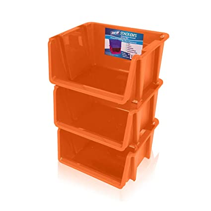 Genial Stor All Solutions Storage Baskets U0026 Bins Stor All 3 Pack Stackable Home  Orange