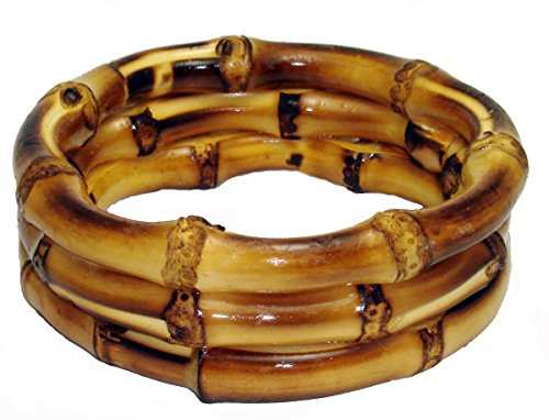 "Bamboo Wood Trio Bracelet 2"" Thick Natural and Earthy"