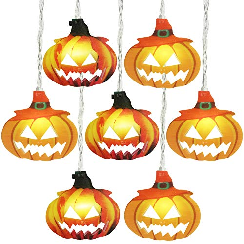 Gyrategirl Halloween String Lights, LED Pumpkin Ghost Lights, Holiday Lights for Outdoor Indoor Decoration, 2 Modes Steady/Flickering Lights(20 Lights, 9.8 feet) for Halloween Home Party Yard Decor