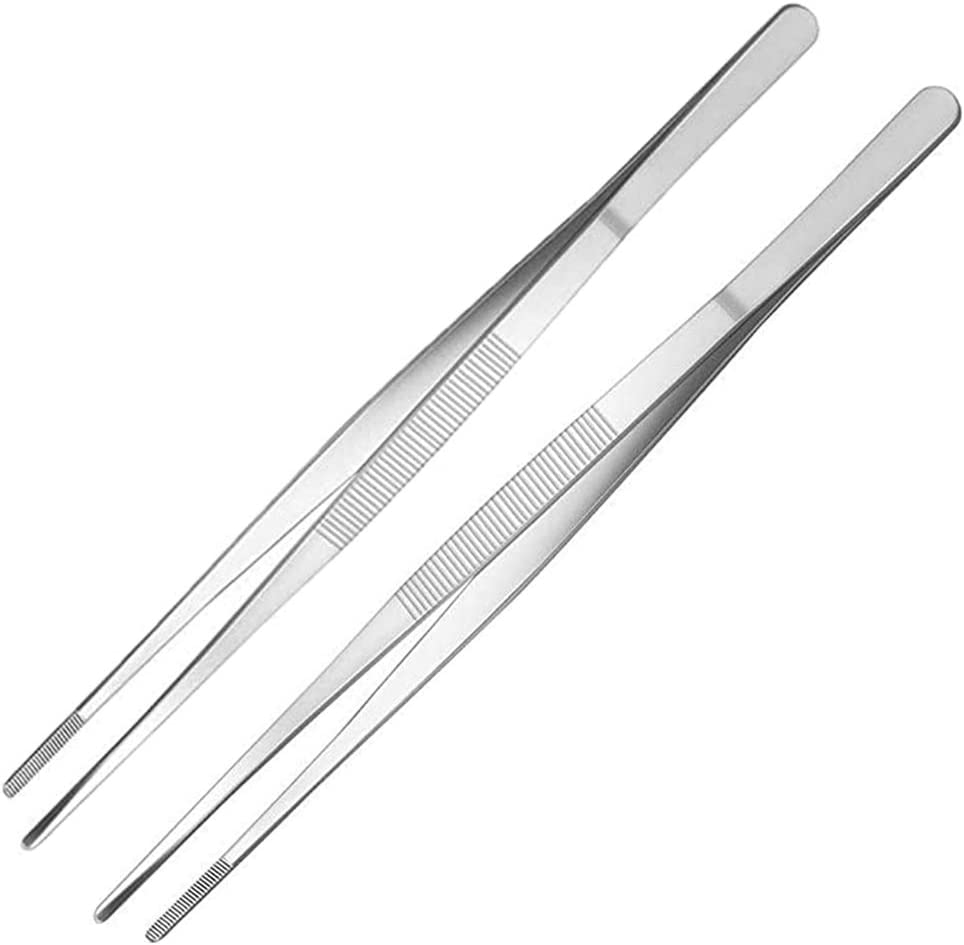 2 Pcs 12 Inch Tweezer Tongs,Extra-Long Stainless Steel Kitchen Tweezers Tongs with Precision Serrated Tips for Cooking,Medical,Repairing and Sea Food,Silver Long BBQ Tongs