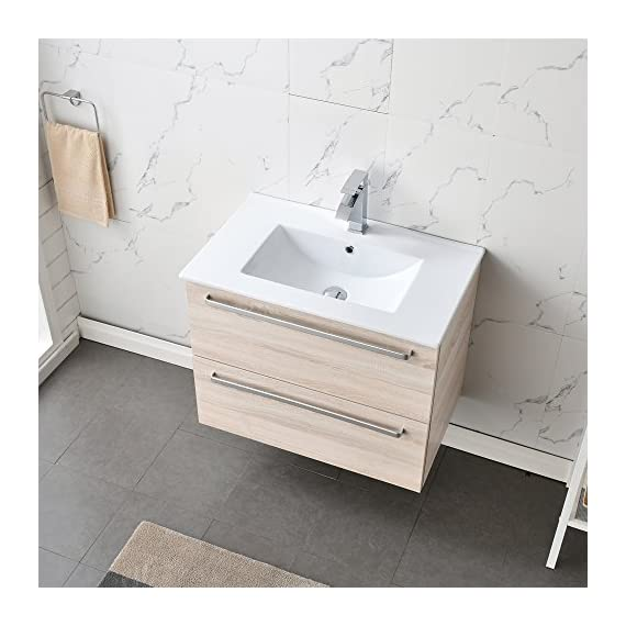 RESSORTIR Modern bathroom vanity 30 inch Danube oak - Size: 23. 2 in. W x 17. 7 in. D x 32. 5 Faucet and pop up drain not include Constructed in Laminate composite wood with PVC doors - bathroom-vanities, bathroom-fixtures-hardware, bathroom - 51HyVJkFT9L. SS570  -