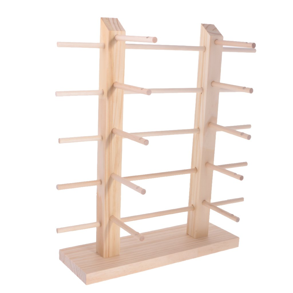 MonkeyJack Wood Sunglass Display Stand Necklace Hanging Rack Bracelet Showing Props Earring Showcase Jewelry Holder Shelf 3/4/5 Layers - 3 Tiers