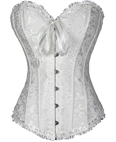 Women Sexy Plus Size Overbust Corset Bustier Top Bridal Dress Lingerie Set with (Front Lace Up Back Cinch)