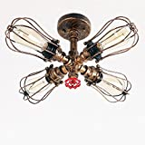 Unitary Brand Rustic Copper Pipe Cage Shade Semi Flush Mount Light with 4 Bulb Sockets 160W Painted Finish