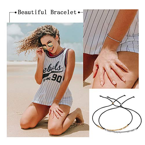 XquiziFit Morse Code Bracelet 3mm Silver Beads on Silk Cord Jewelry Gift for Women, Cute Bracelet with Special Meaning