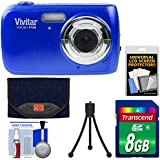 Vivitar ViviCam F126 Digital Camera (Blue) with 8GB Card + Case + Mini Tripod + Kit