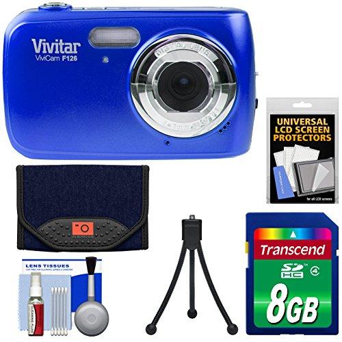 Vivitar ViviCam F126 Digital Camera (Blue) with 8GB Card + Case + Mini Tripod + Kit Digital Blue Vivitar Vivicam
