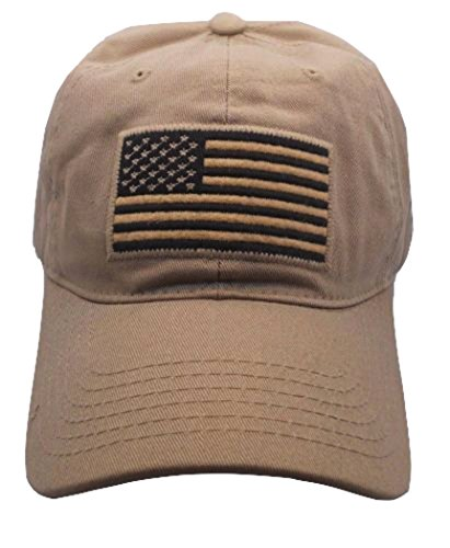 Pit Bull US Flag Patch Tactical Style Cotton Trucker Baseball Cap Hat Tan - Tan Trucker Hat