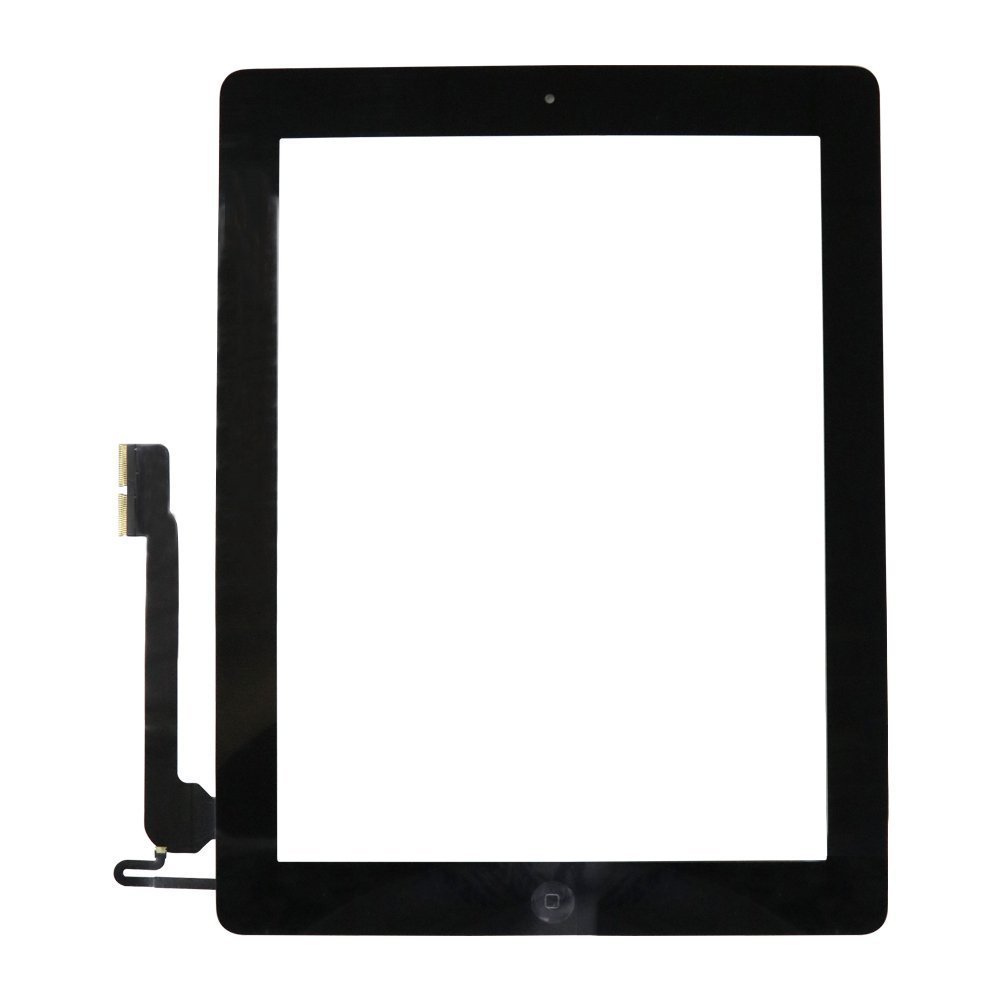 Touch Screen Digitizer Assembly for Black iPad 4 Model A1458, A1459, A1460 + Home Button Camera Holder + Pre-Installed Adhesive with Tools